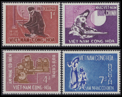 South Vienam Stamps - 1966 , Scott # 287-90 Music: Traditional Instruments - MNH, F-VF (9V08H)