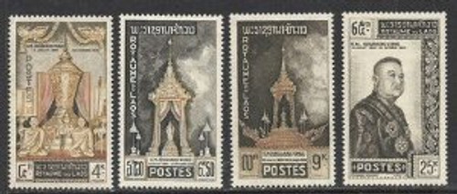 Laos Stamps - 1961 , Scott 66-9, King's funeral, MNH, F-VF - (9A044)