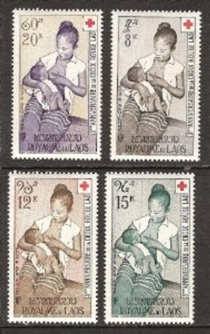 Laos Stamps - 1958 , Scott C31-4, MOTHER NURSING INFANT, LAOTIAN RED CROSS, MNH, F-VF - (9A047)