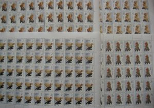 China Stamps - 1992-16 , Scott 2425-28 Qingtian Stone Carving - Full Sheet of 50 sets - MNH, VF Post Office Fresh - (9242D)