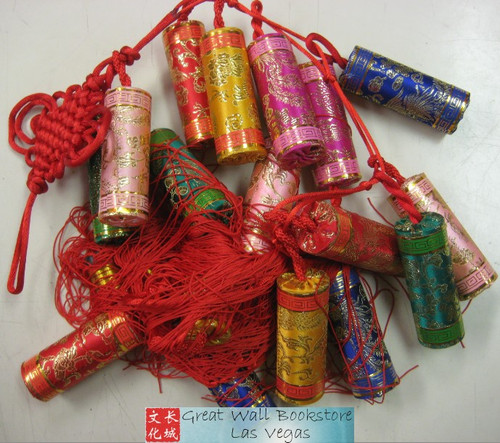 "Chinese New Year Decorative Firecrackers (Firecrackers (w/different colors) were made with silk) size 35"" Long (measured from top of first cracker to"