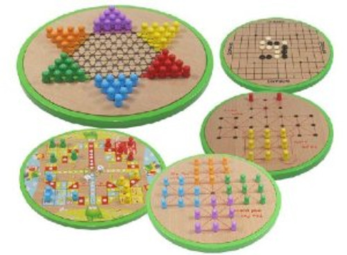 Chinese Multi Game Set: Chinese Checkers, Wu (Go), Fying Chess, Single Noble and The Fox and Goose - With Instrution in Chinese(WXF1)