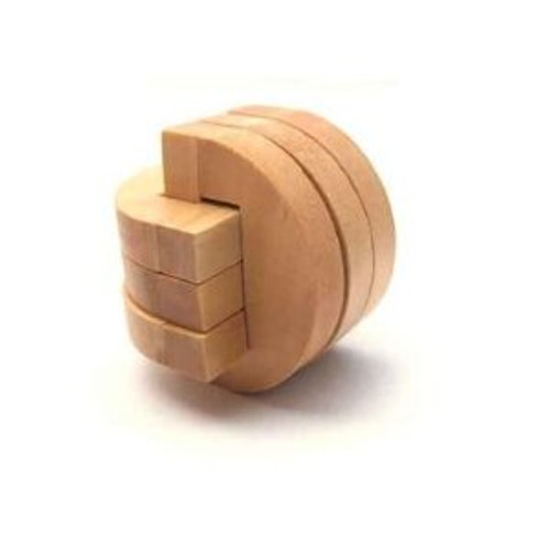 "Wooden Kongming Lock Puzzle - Size: 2.3"" x 2.3""(WXK0)"
