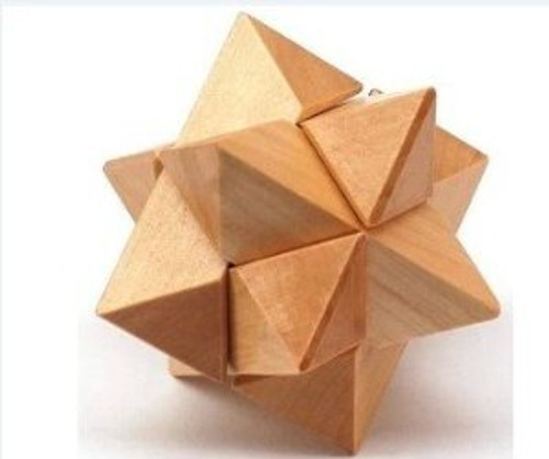 "Wooden Kongming Lock Puzzle - Size: 2.75"" x 2.75""(WXK3)"