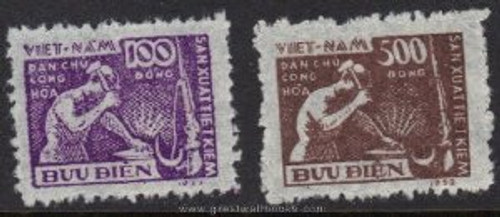 Vietnam Stamps - 1953-5, Sc 4-5, Blacksmith - MNH, F-VF - (9N052)