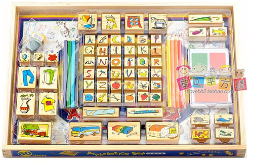 """Children's Stamp Set - 60 wooden stamps for kids w/3 color ink pads, 8 color pencils, 1 coloring book - package size : 17 """" x  12.25 """" x 1.25 """" (WXN5)"""