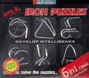"""Chinese Linked Rings Puzzle/ Chinese Rings - 6 in 1 classic iron puzzle, set B - box size : 8.5"""" x 7"""" (WXA0)"""