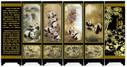 "Lacquer Antique Style Miniature Chinese Panel Screen 漆器仿古小屏风 with ""Panda 中华国宝图"" Theme - screen size: 14.75"" x 5.9"" (WXR1)"
