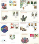 China Stamps - 1992, 7 complete sets First Day Covers. All dealer stock. Scott 2380-1, 2412-3, 2416-9, 2425-8, 2482-5, 2586-9, 2493-6 - (92X0C)