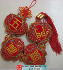 "Chinese New Year Decorative Good Luck Hanging w/Chinese Charaters ""Five Prosperity arrived at the Door"" size 22.5"" Long (measured from top to bottom excluding tassels) (WXLA)"