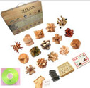 "Wooden Kongming Lock Puzzle: Box Set of 15 Wooden Kongming Lock Puzzles + other goodies  - Package Box Size: 17"" x 20.5"" x 3.5"" - Each Puzzle around 3.1"" x 3.1""(WXKT)"