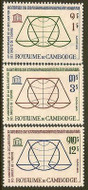 Cambodia Stamps - 1963 , Sc 126-8 Huam Rights Day - MNH, F-VF - (9A02G)