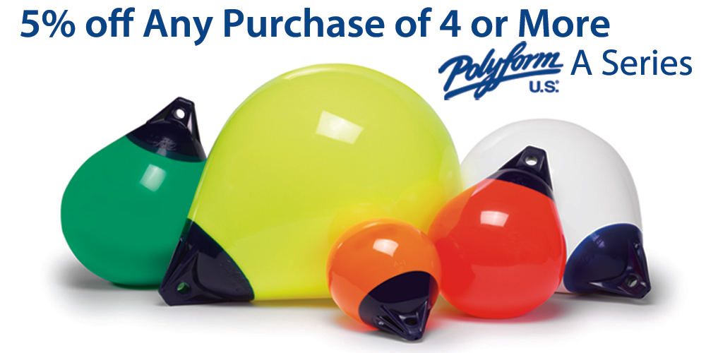 SavvyBoater Sale: 5% off Any Purchase of 4 or More Polyform A Series Buoys
