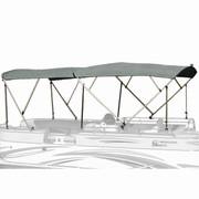 Carver pontoon boat dual bimini top with haze gray Poly-Guard fabric