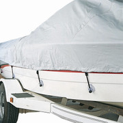 Carver boat cover suction cup tie-down system in use