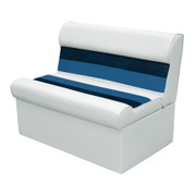 "Wise Deluxe Pontoon 37"" Bench Seat in White/Navy/Blue"