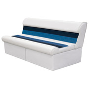 "Wise Deluxe Pontoon 55"" Bench Seat in White/Navy/Blue"