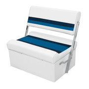 Wise Deluxe Pontoon Flip-Flop Bench Seat and Base in White/Navy/Blue