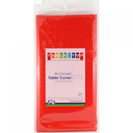 Red Plastic Table Cover - Rectangular