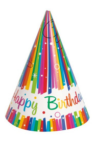 """Birthday Rainbow"" Party Hats - Pkt 8"