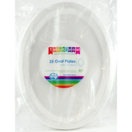 White Plastic Oval Plates - Pkt 25 x 30cm
