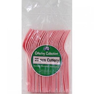 Light Pink Plastic Cutlery - Pkt 25 x Forks