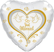"17"" CTI Foil - Just Married Doves"