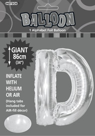 86cm Flat Alphaloon - Silver D