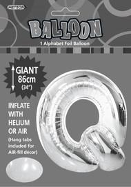 86cm Flat Alphaloon - Silver Q