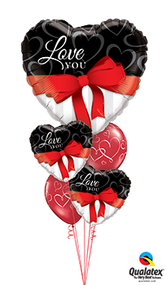 Mixed floating Bouquet of 2 x Message Foils and 2 x 30cm Prints topped with Large Shape.