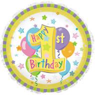 #1 Pastel 1st Birthday - 43cm Flat Foil