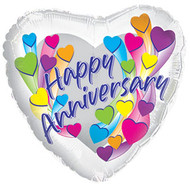 """Anniversary """"Hearts"""" - 43cm Inflated Foil"""