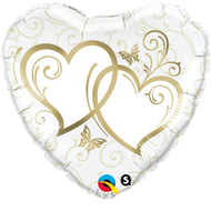"""Entwined Gold Hearts"" - 45cm Foil"