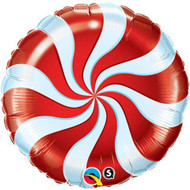 """Inflated 45cm Foil - """" Red Candy Swirl"""""""