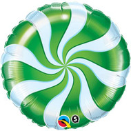"""Inflated 45cm Foil - """" Green Candy Swirl"""""""