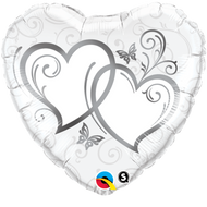 """Entwined Hearts """"Silver"""" - 45cm Flat Foil"""