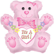 "Baby Girl ""Teddy Bear"" - 31"" Flat Shape"