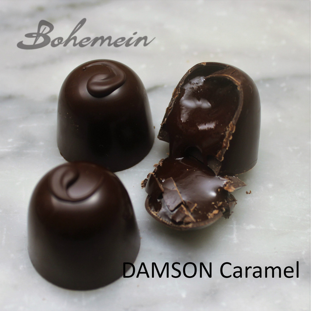 Bohemein Damson Caramel Dairy Free…. - Smooth, flowing Caramel made with tart Damson Plum puree and laced with Gordon's Gin in a sweet Dark chocolate shell. Dairy FREE