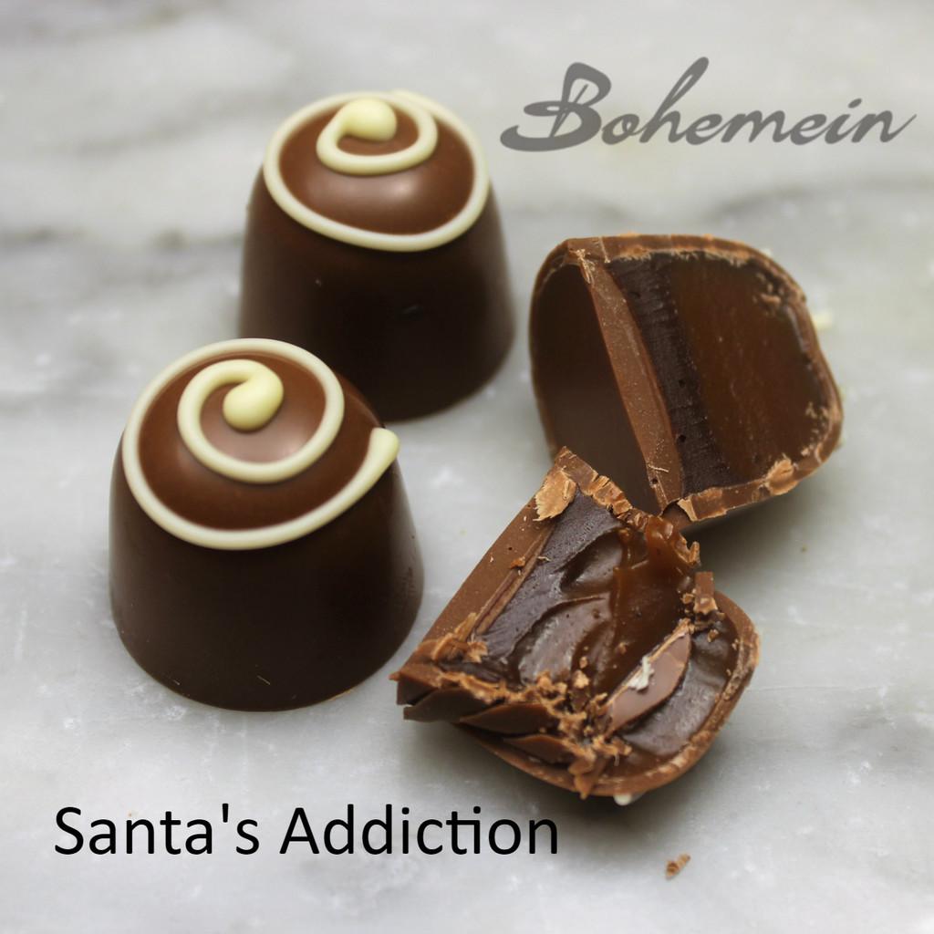 Bohemein Santa's Addiction -Our most popular Christmas flavour. Silky smooth nutmeg caramel and Becherovka (Czech liqueur) Ganache. Tastes like Christmas.