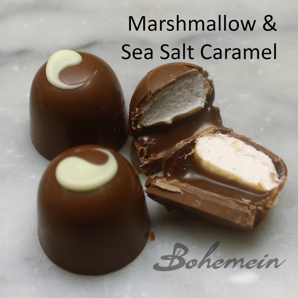 Bohemei Sea Salt Caramel and Marshmallow.  - Fluffy Vanilla Marshmallow on top of Chocolate Caramel with Crunchy Marlborough Sea Salt  in a Milk chocolate Shell