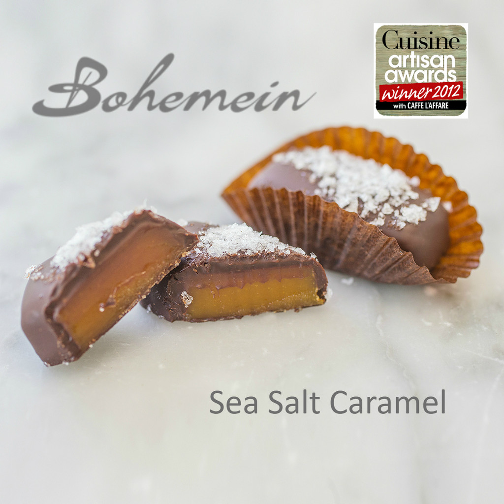 Bohemein Sea Salt Caramel. The Sea salt tempers sweetness and heightens both chocolate and caramel flavours. This chewy French favourite is coated in dark chocolate.