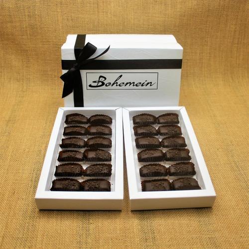 Bohemein 24 chocolate gift Box is filled with 24  2014 Cuisine Artisan AWARD &  2014 NZ Food AWARD  Winning Cocoa Nib Caramels Only. (aka Black Devil Caramel