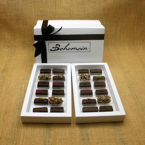 Bohemein 24  Dairy Free Chocolates Gift Box Includes: Noisette (Hazelnut) x 4, Pistachio Marzipan x 4, Raspberry Ganache x4, Creme de Menthe Fondant x4, Coconut Cream Truffles x 4, Ginger Caramel x4
