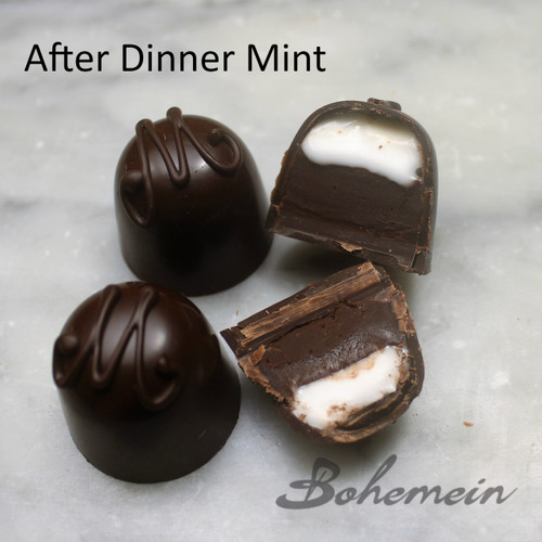 Bohemein After Christmas Mint. A classic peppermint and creme de mente fondant sits atop luscious 70% dark chocolate ganache. Dairy FREE