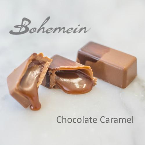 Bohemein Chocolate Caramel. Sweet, classic, soft textured caramel encased in a milk chocolate shell