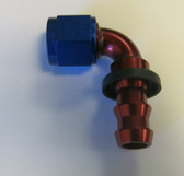 Fitting, Andrews Motorsports, Legends Race Car, XRP Twist-Tite 8AN x 90 Degree Hose End Red