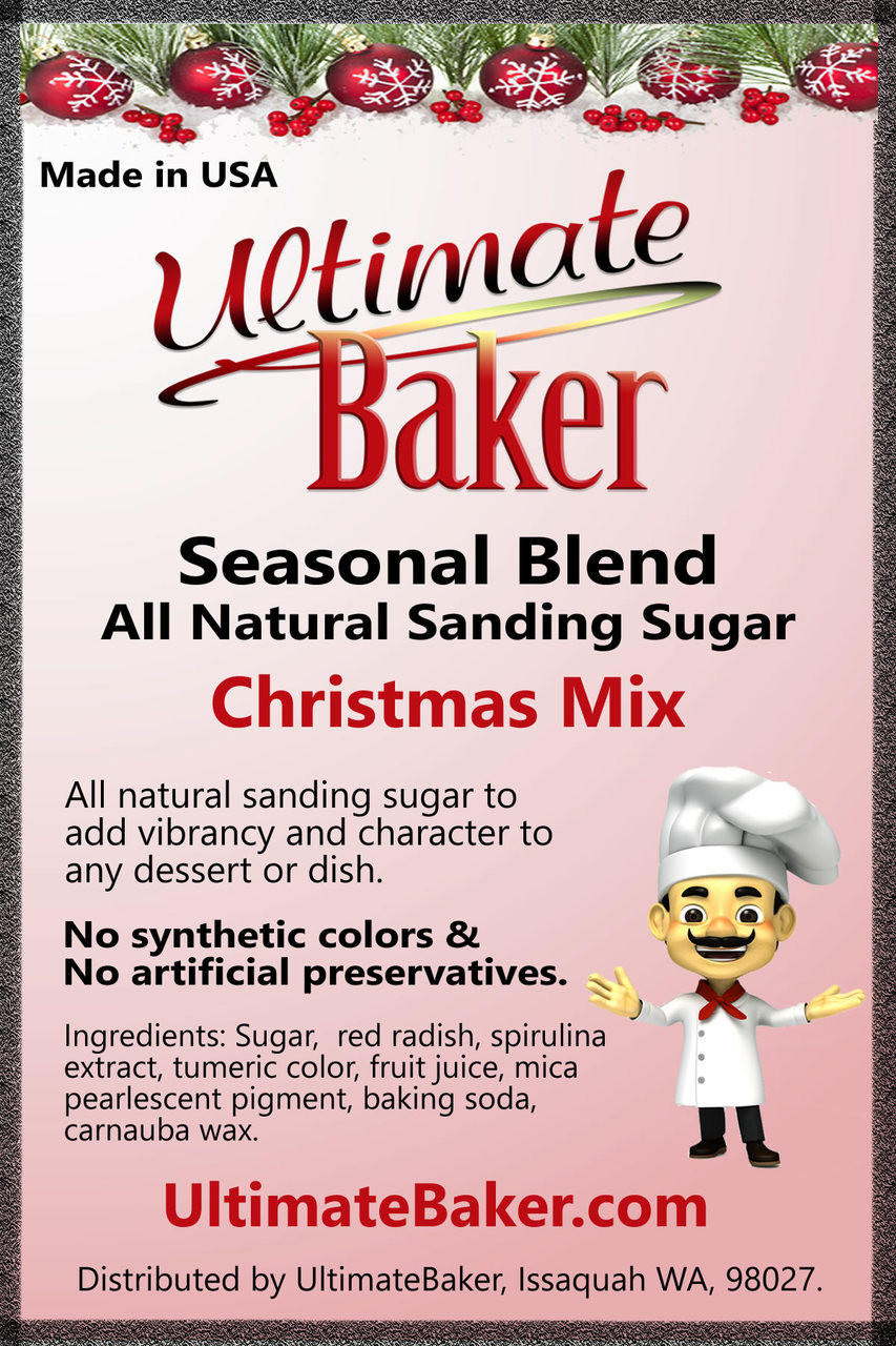 Ultimate Baker Natural Sanding Sugar Christmas Mix (1x1lb)