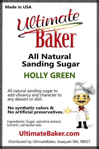 Ultimate Baker Natural Sanding Sugar (Med. Crystals) Holly Green (1x8lb)