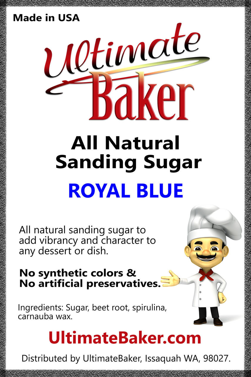 Ultimate Baker Natural Sanding Sugar (Med. Crystals) Royal Blue (1x8lb)
