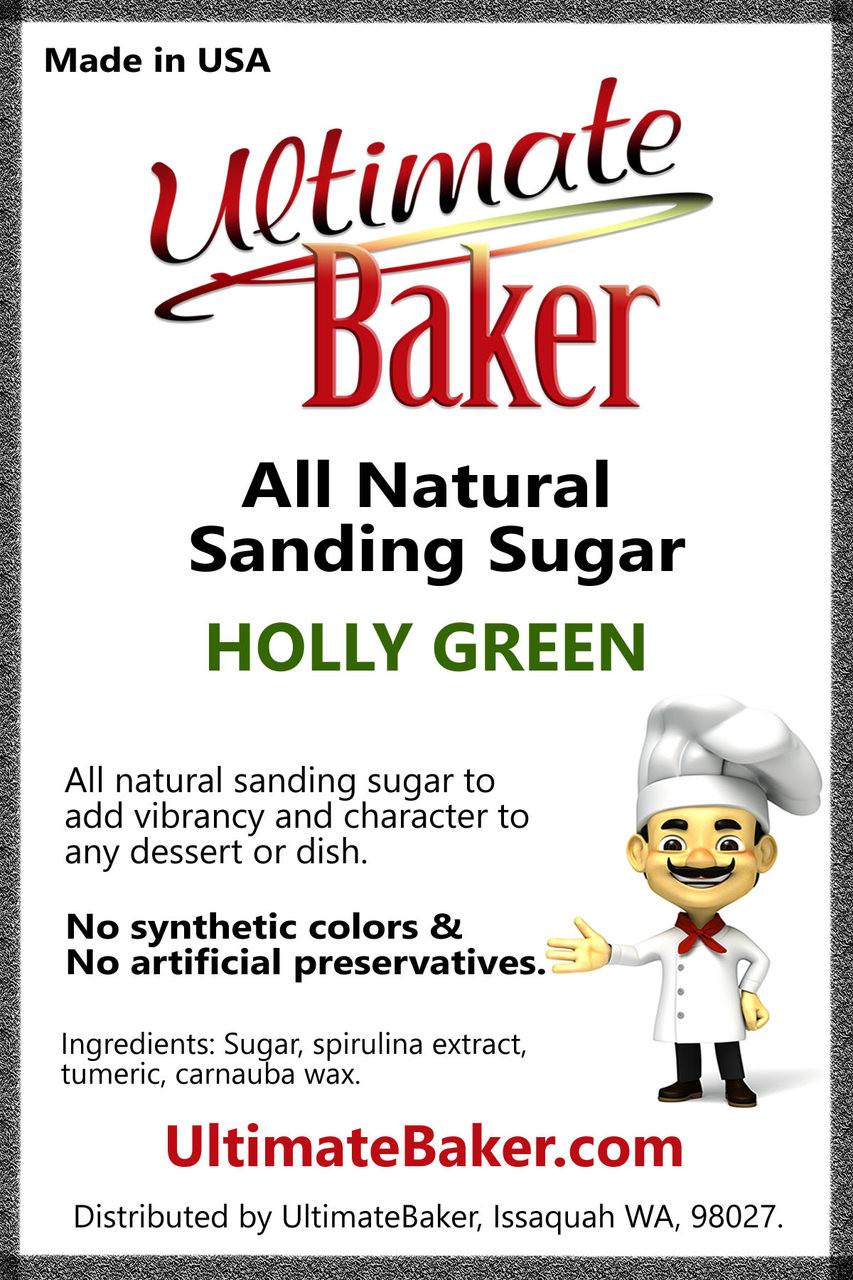 Ultimate Baker Natural Sanding Sugar (Med. Crystals) Holly Green (1x16lb)